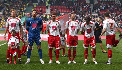 (left-right) Stevenage's Mark Roberts, goalkeeper Chris Day, Scott Laird, Joel Byrom, Lawrie Wilson and John Mousinho line up